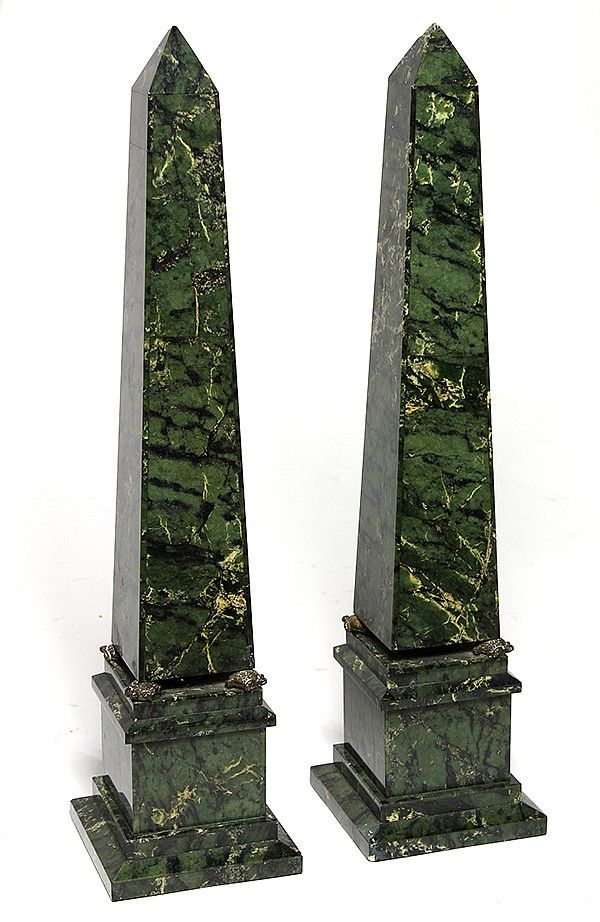 "Pair of variegated green marble obelisks, of classic form with the tops supported by four metal turtles and rising on a square plinth, 18""h; Provenance: From the Ligonier, PA estate of Richard Mellon Scaife."