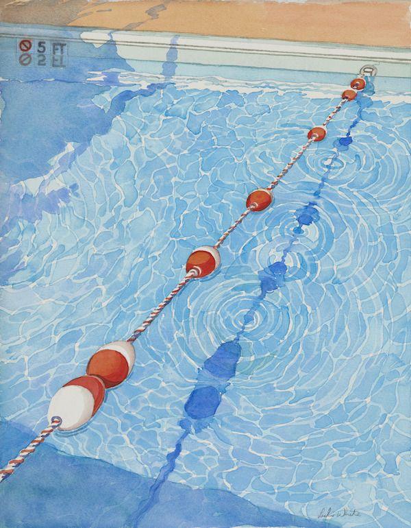 Pool Steps 16x20 Watercolor By Leslie White Www Trailheadstudios