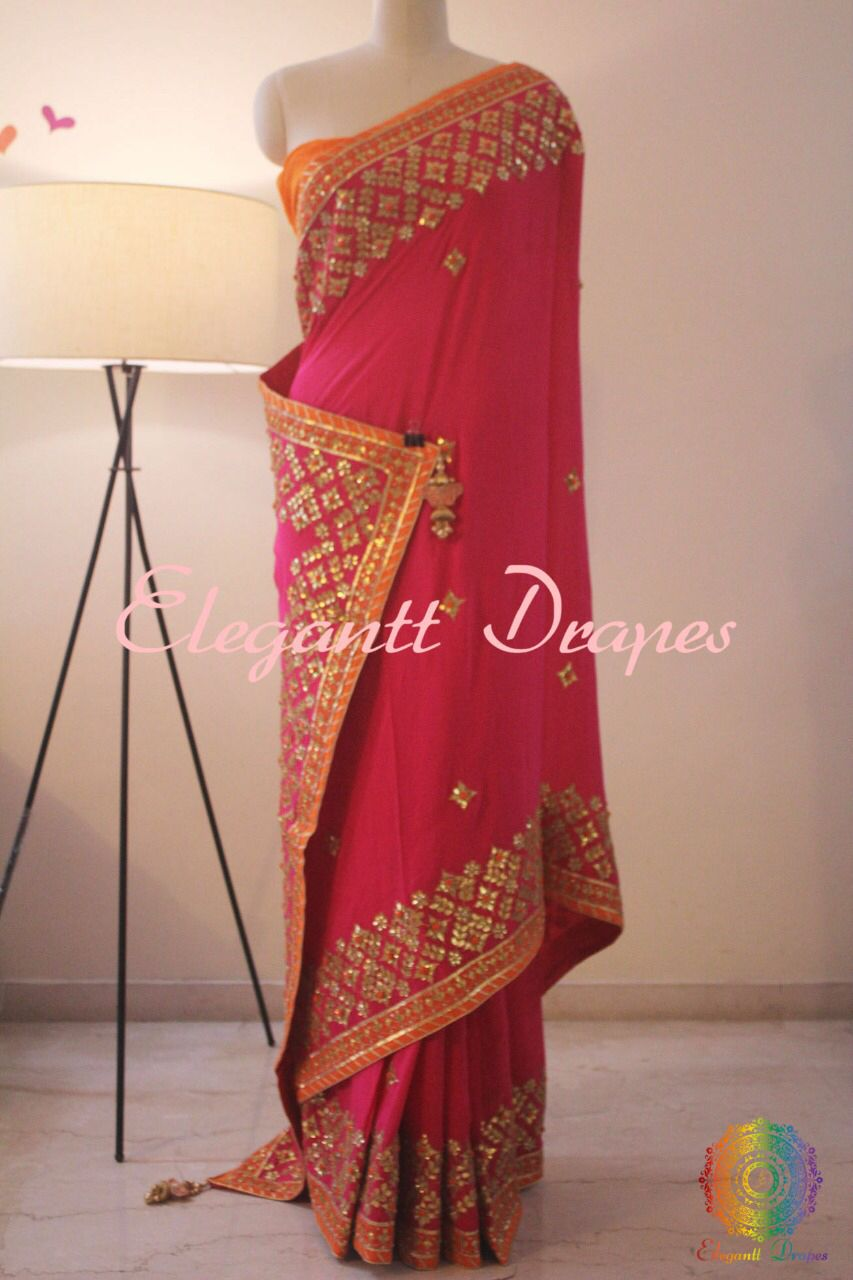 Pink Pure Chinon Crepe Gota Patti Bud Work Saree Elegantt Drapes Sari Desain Blus