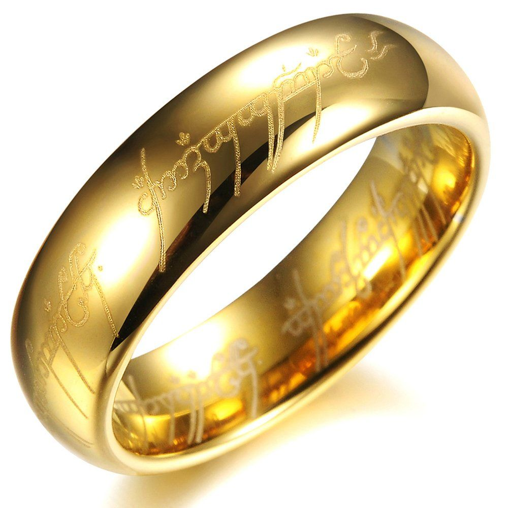 opk jewellery high polished 18k gold plated tungsten carbide steel