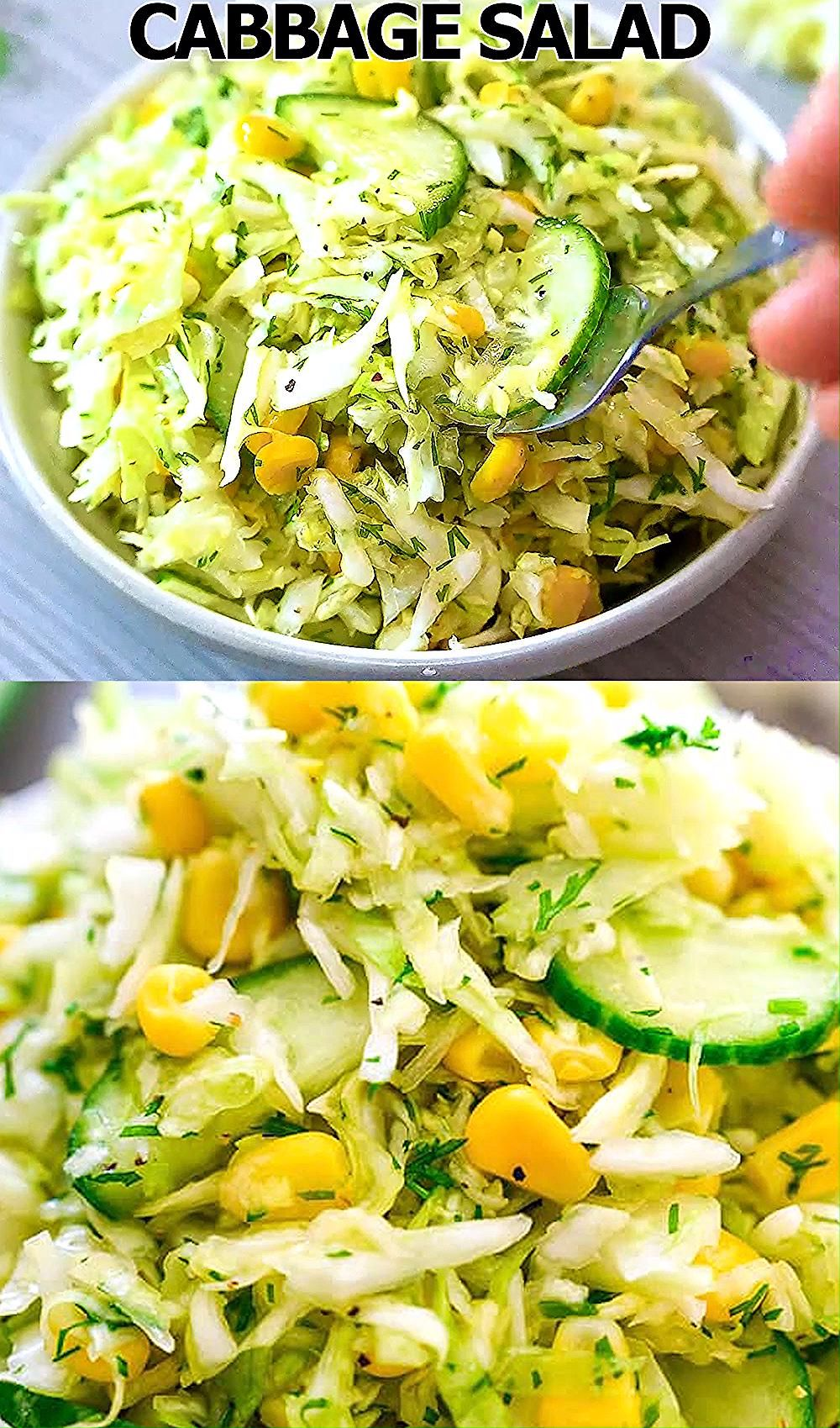 This Cabbage Salad with Corn is made with only a few ingredients and it tastes fantastic! It makes the perfect side dish for almost any kind of meal. FOLLOW Cooktoria for more deliciousness! #cabbage #corn #cucumber #salad #vegan #plantbased #vegetarian #lunch #recipeoftheday