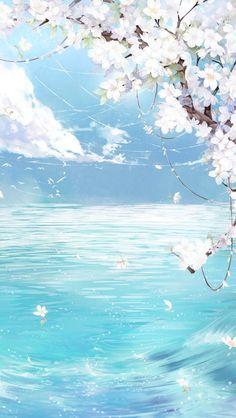 Fresh Flowers  Blue Sky  Poster Background