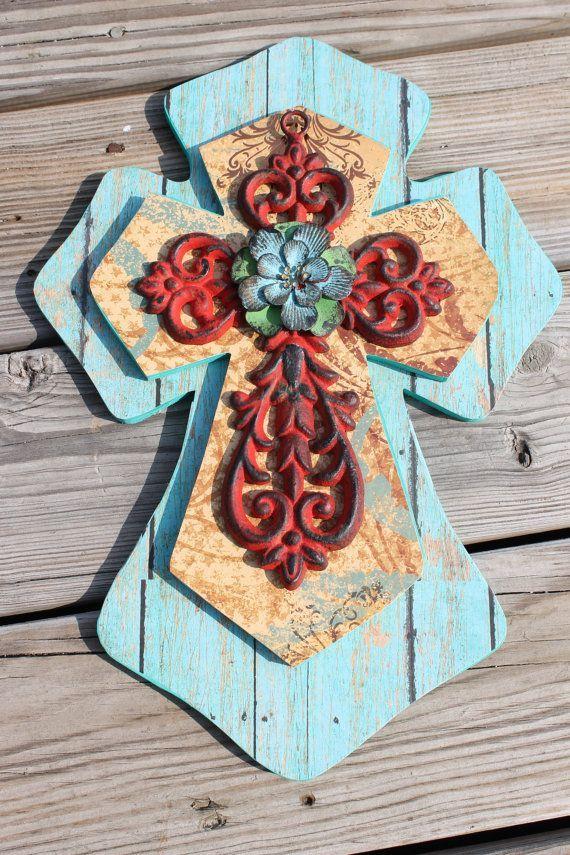 decorative wooden crosses stacked wood cast iron decorative wall cross western decor christian - Decorative Cross