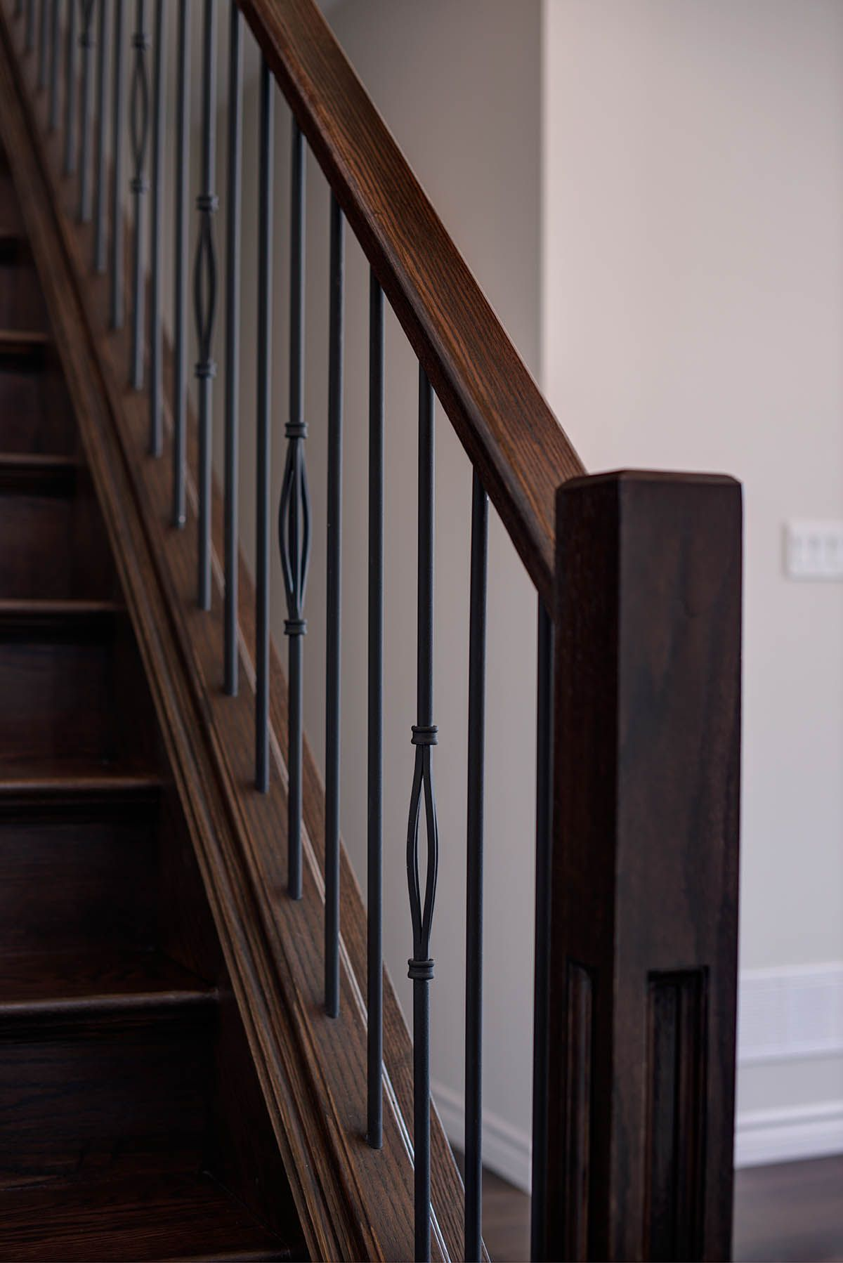 Best Square Newel Post With Rod Iron Spindles Railing Stained 400 x 300