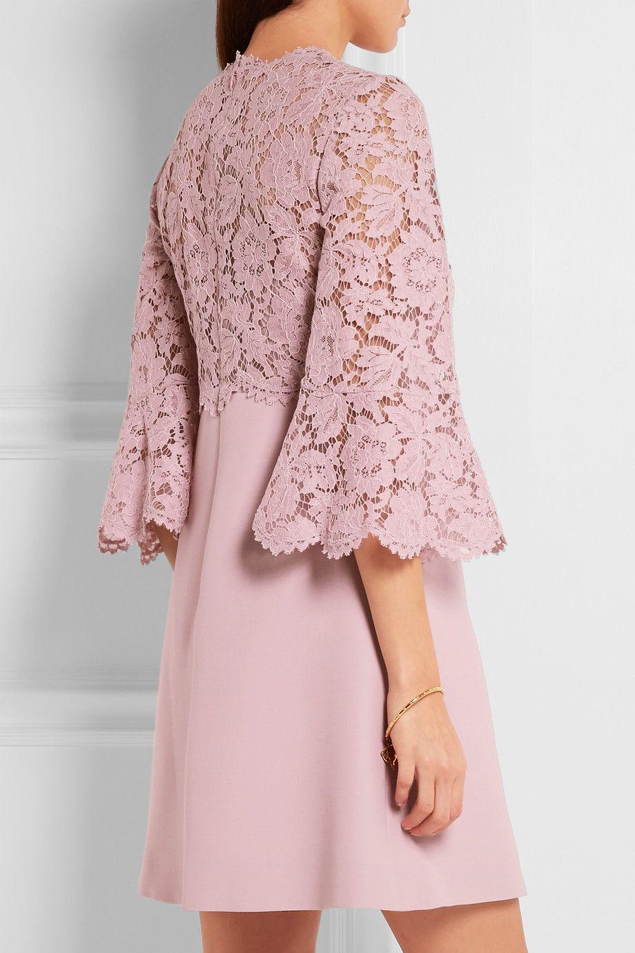 Valentino | Mini-robe en dentelle cordonnet et en crêpe à manches ...