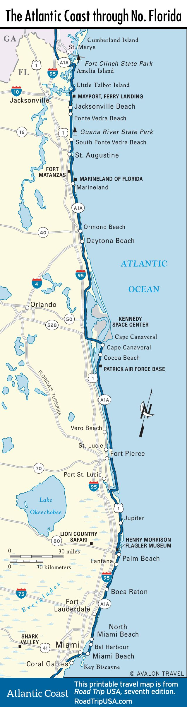 Map of the Atlantic Coast through Northern Florida. | Florida A1A