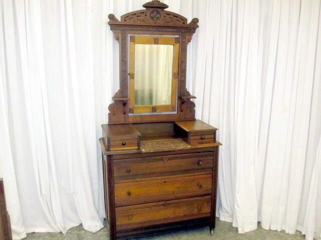 Eastlake Style Dresser Made Of Dark Walnut Has Burled Walnut
