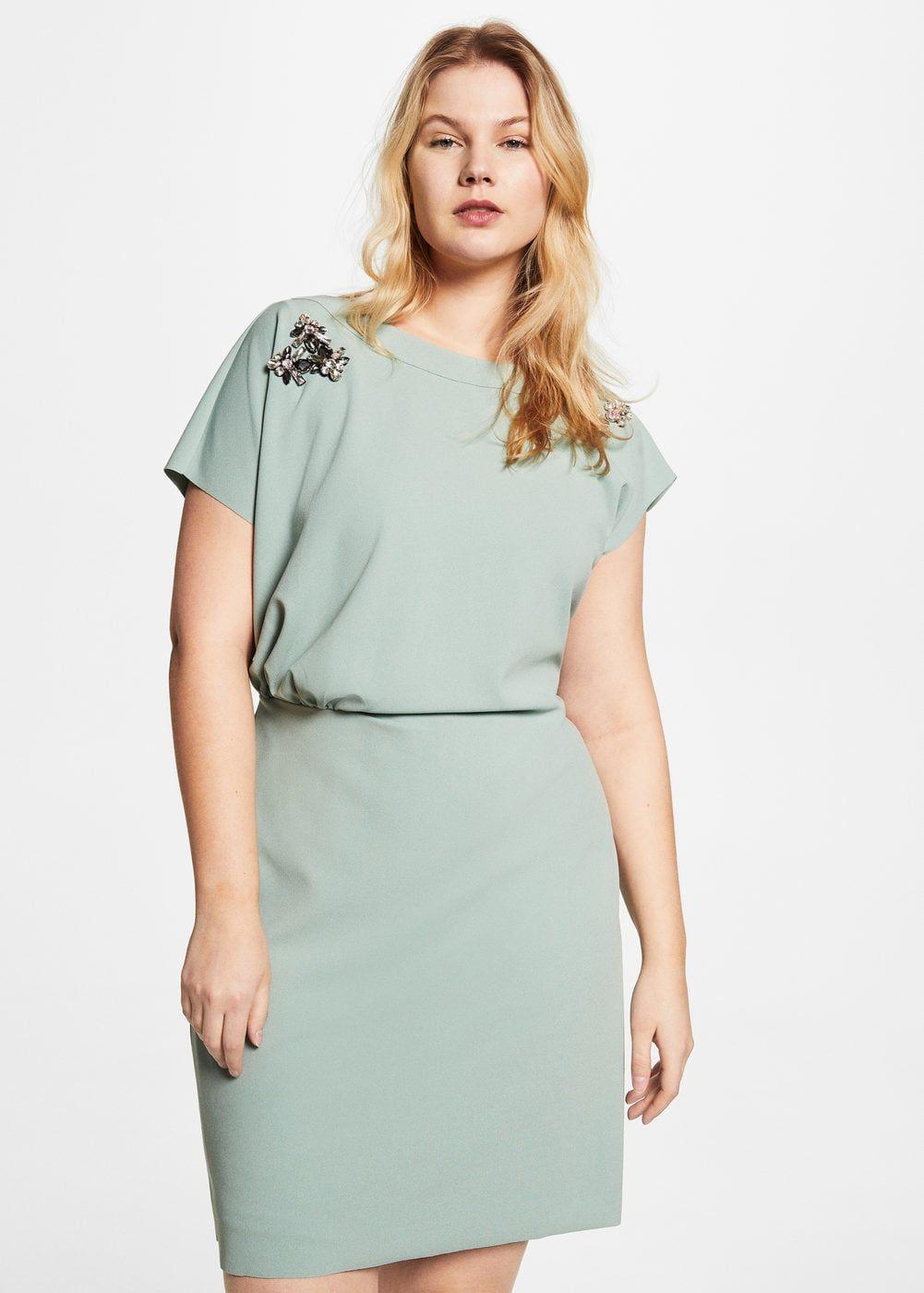 8ff444225846a1 Gedrapeerde jurk met appliqué - Grote maten