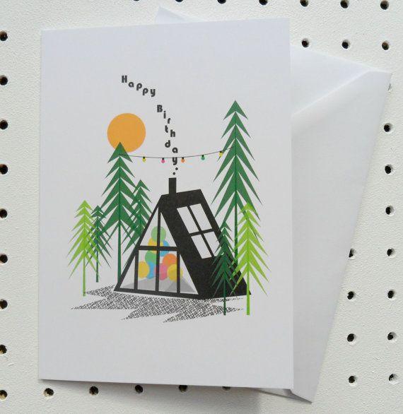 Log Cabin A Frame Birthday Card | Log cabins, Cabin and White envelopes