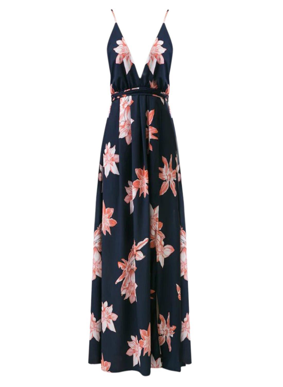 c04bdc536d6 Backless Floral Printed High Slit Maxi Prom Dress - OASAP.com