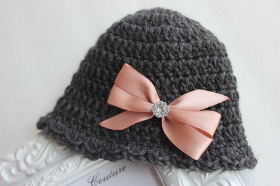 Charcoal Gray Crochet Newborn Hat Baby Girl by BellaBambinaCouture, $13.00