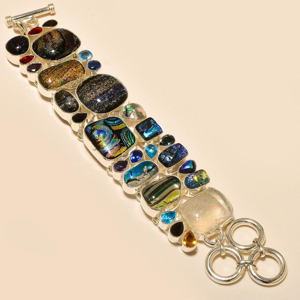 Dichroic glass blue topaz citrine sterling silver bracelet