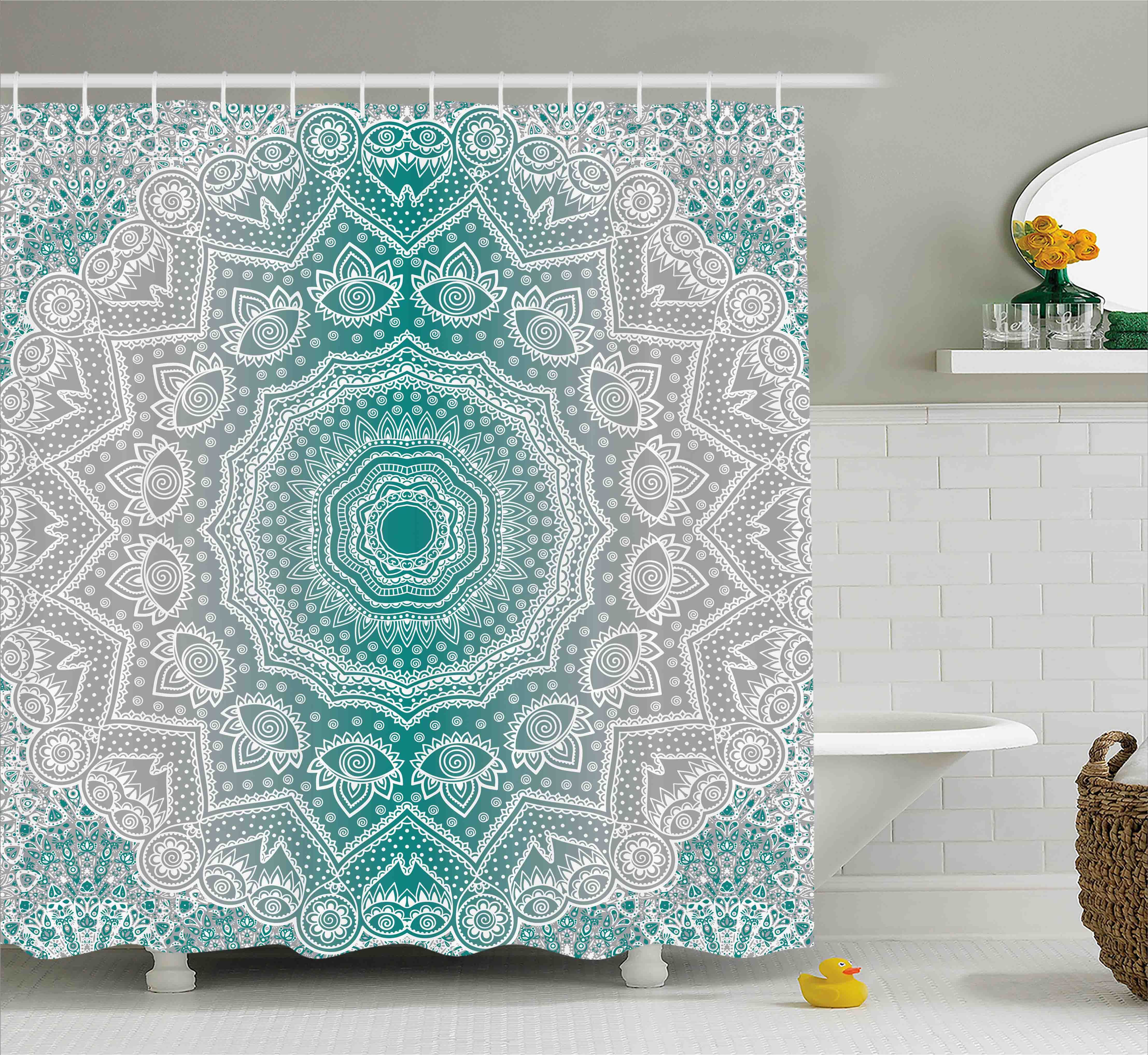Grey And Teal Shower Curtain Mandala Ombre Sacred Geometry Occult Pattern With Flower Lines Display Artwork Fabric Bathroom Set Hooks