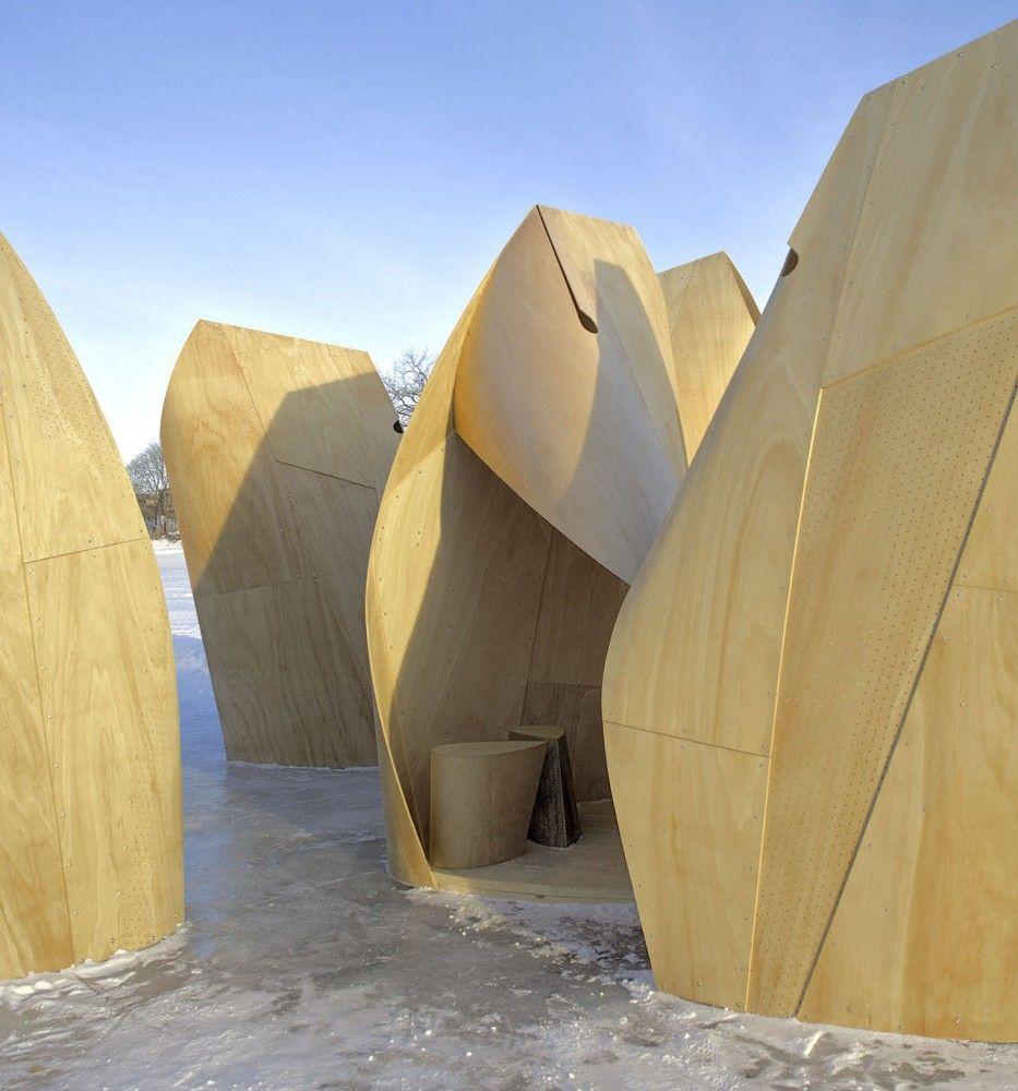 Winnipeg Skating Shelters / Patkau Architects #unfold #plywood #temporary