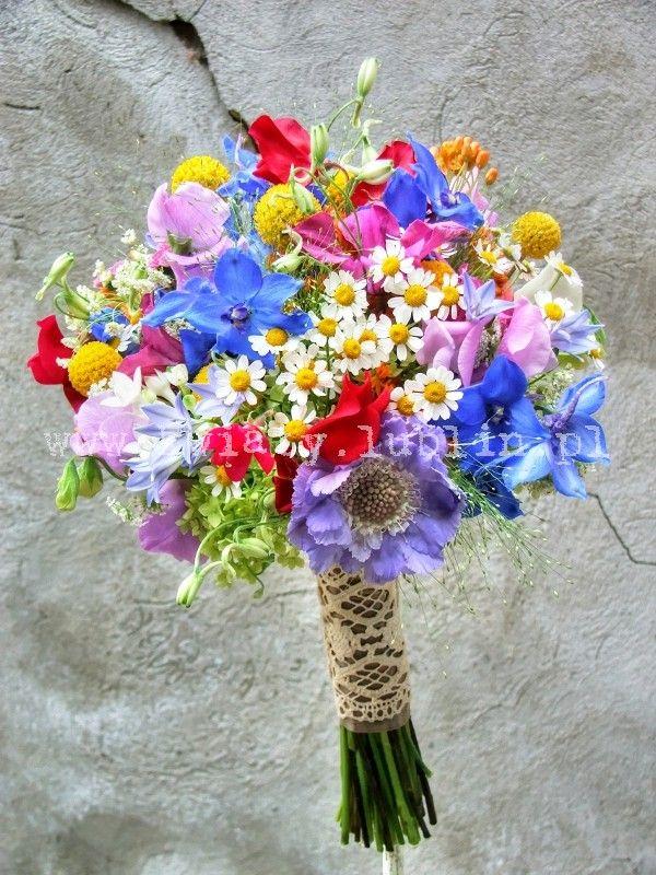 Bukiet Slubny W Polnych Klimatach Wildflower Wedding Bouquet Wildflower Wedding Colorful Wedding Bouquet