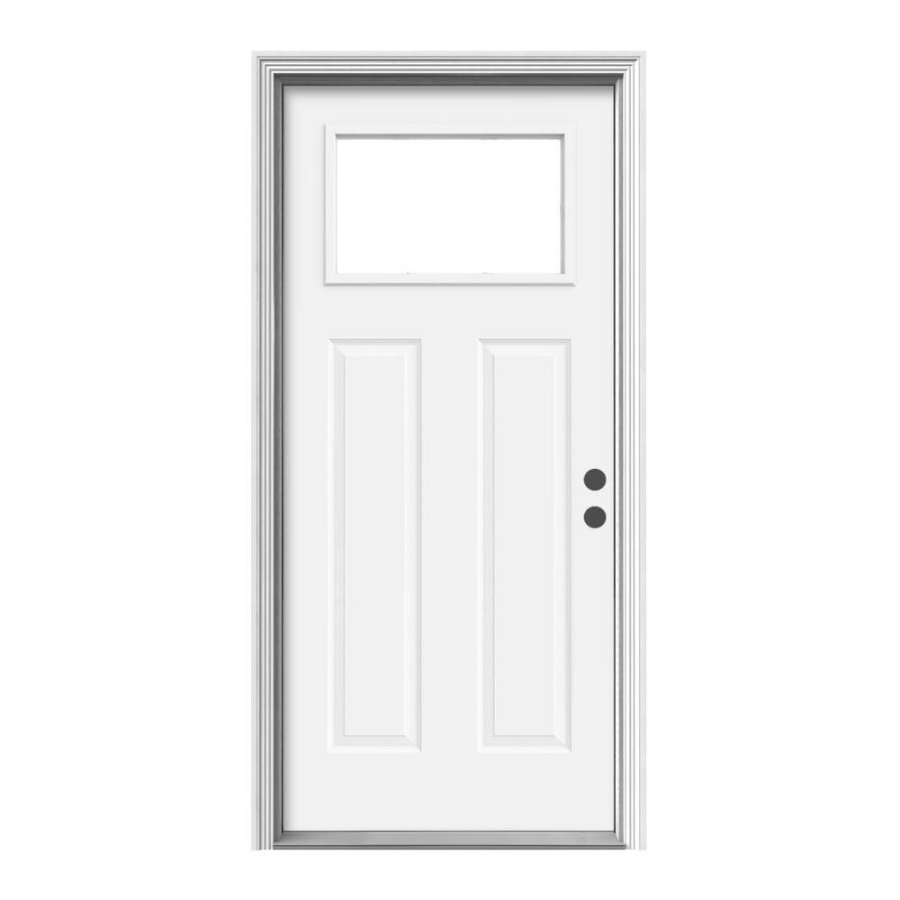 Jeld Wen 36 In X 80 In 1 Lite Craftsman White Painted Steel Prehung Left Hand Inswing Front Door W Brickmould N11674 The Home Depot Steel Entry Doors Steel Front Door Entry Doors