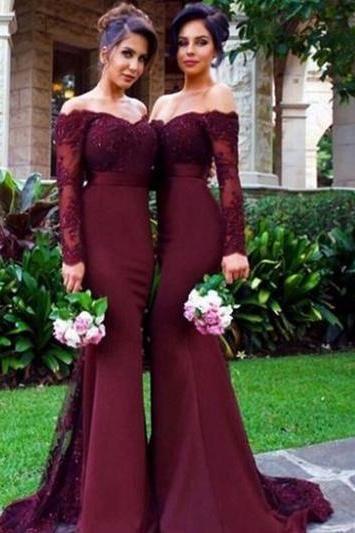 Mirusponsa boat neck long sleeve burgundy bridesmaid dresses ... 635d0147d6dc