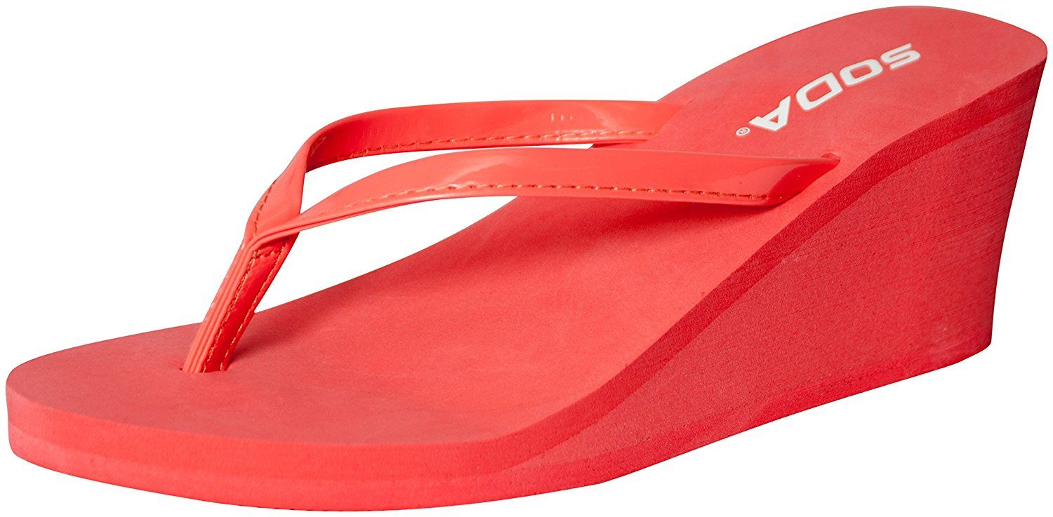 b9489e1cf33 Soda Women s Patent Shine Platform Wedge Thong Sandals Salmon 7.5 -- Be  sure to check