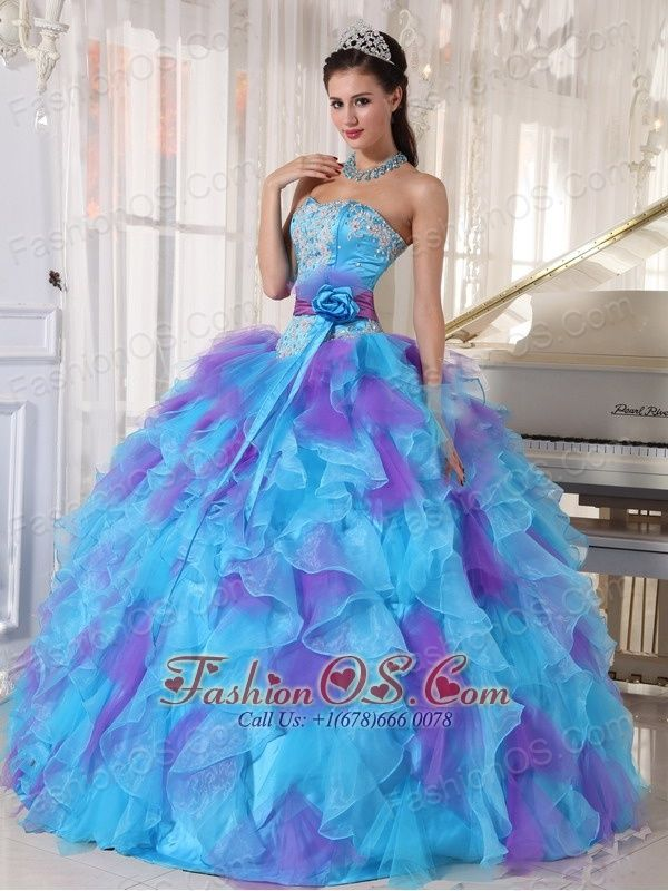 Baby Blue and Purple Quinceanera Dress Strapless Organza Appliques ...