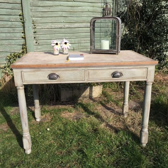 Vintage Farmhouse Grey Hand Painted Pine Writing Desk With 2 Drawers Sanded Top Handmade
