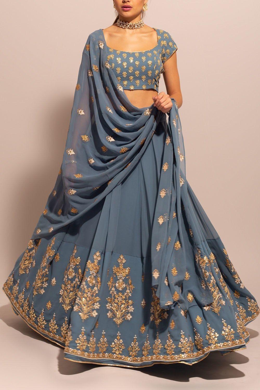 BlueGrey Georgette Gota Motif Lehenga | Indian fashion ...