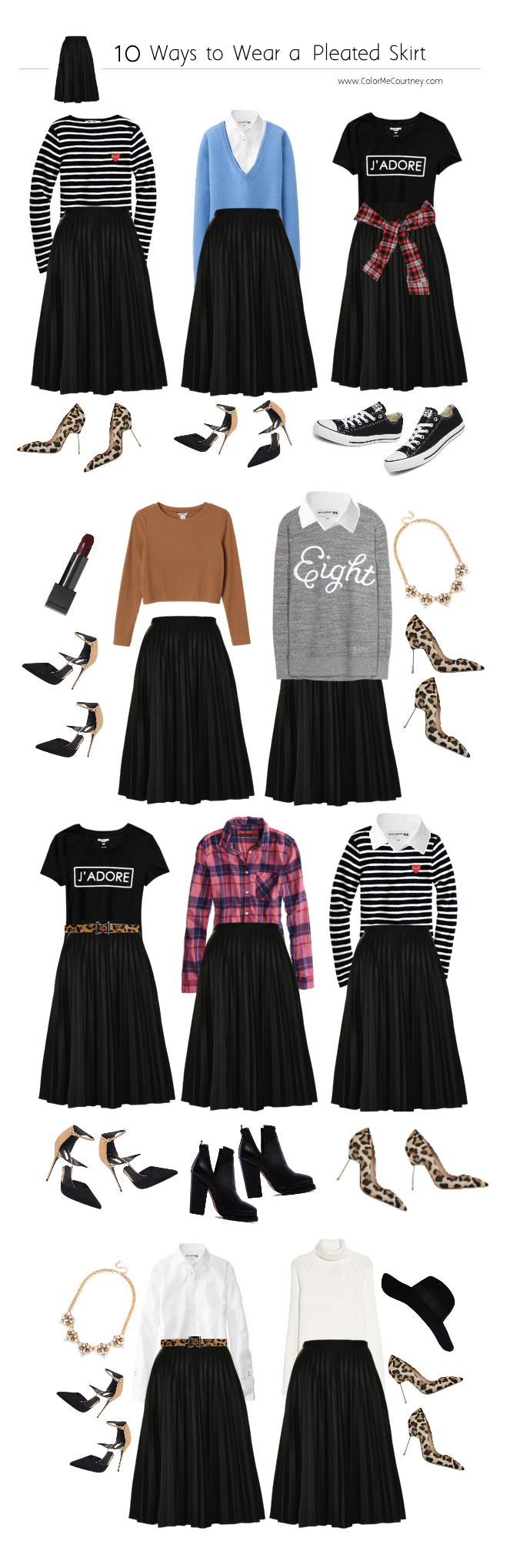 86f4ddcafee 10 ways to wear a pleated skirt Black Pleated Skirt Outfit