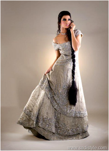 Silver Gray Color Engagement Bridal Dress In Frock With Lahanga