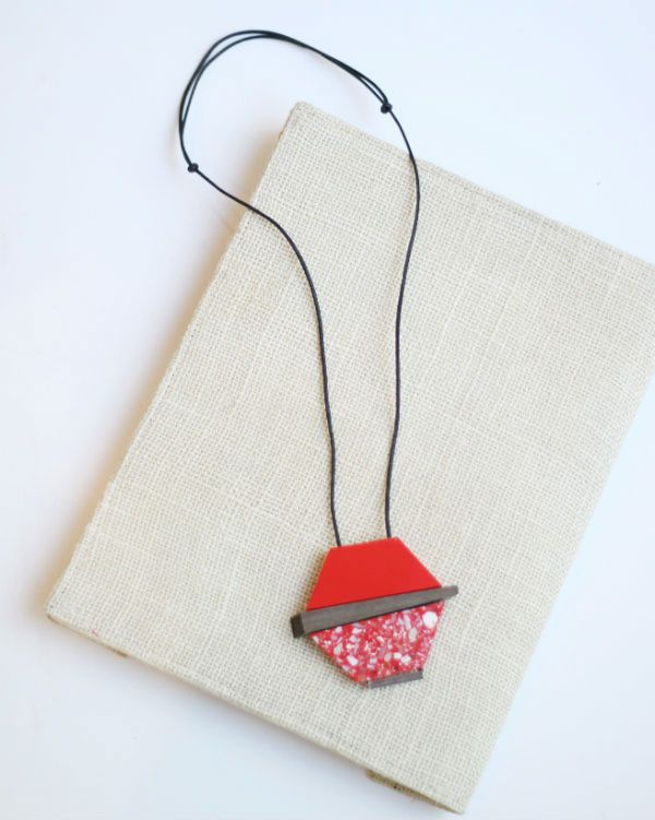 Red Resin and Wood Necklace by Sylca