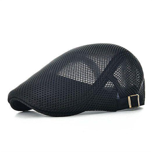 60ad7f6d67b VOBOOM Men Breathable Mesh Summer Hat Adjustable newsboy Beret IVY Cap  Cabbie Flat Cap MZ124 (Black)
