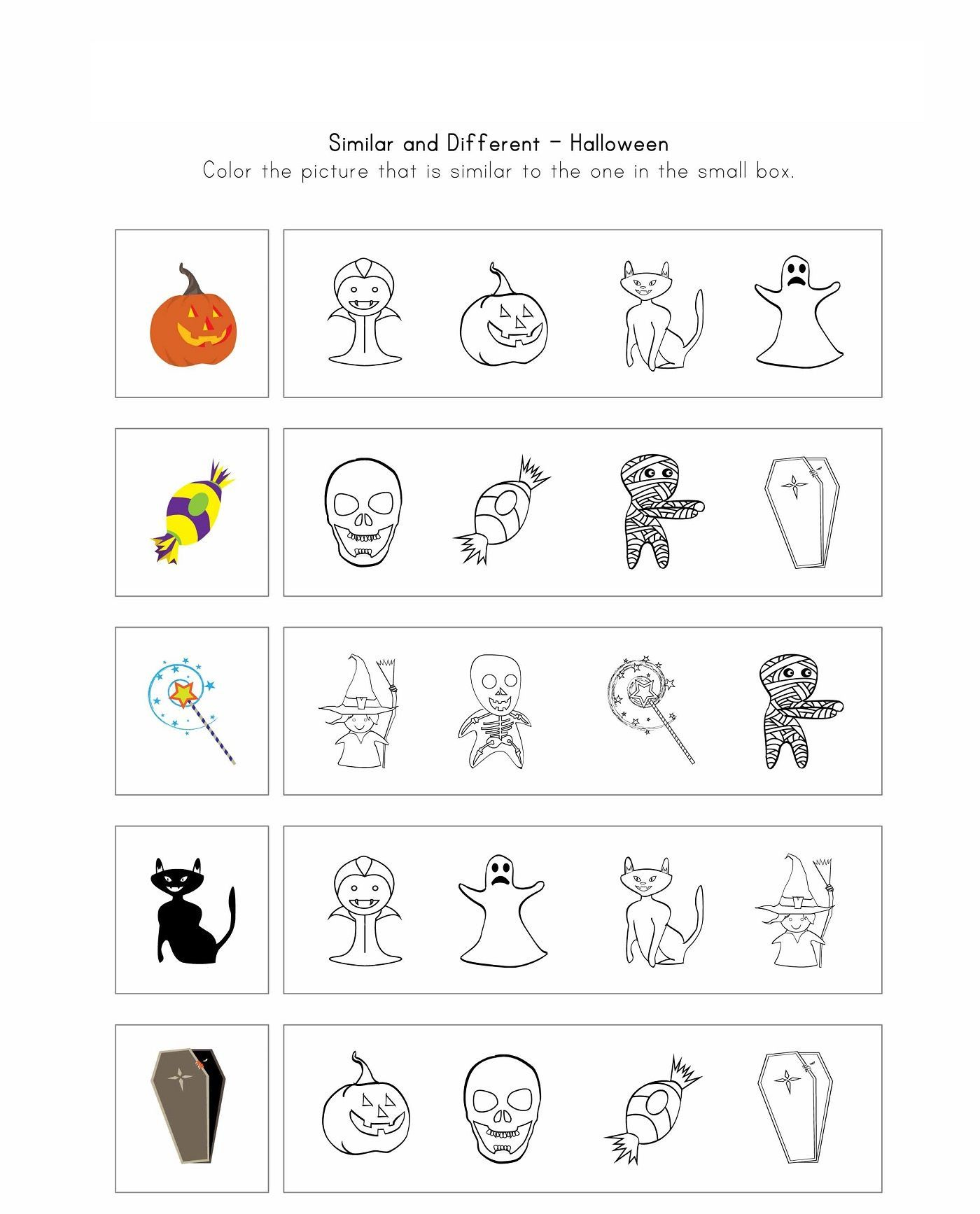 Same Or Different Worksheets Activity In