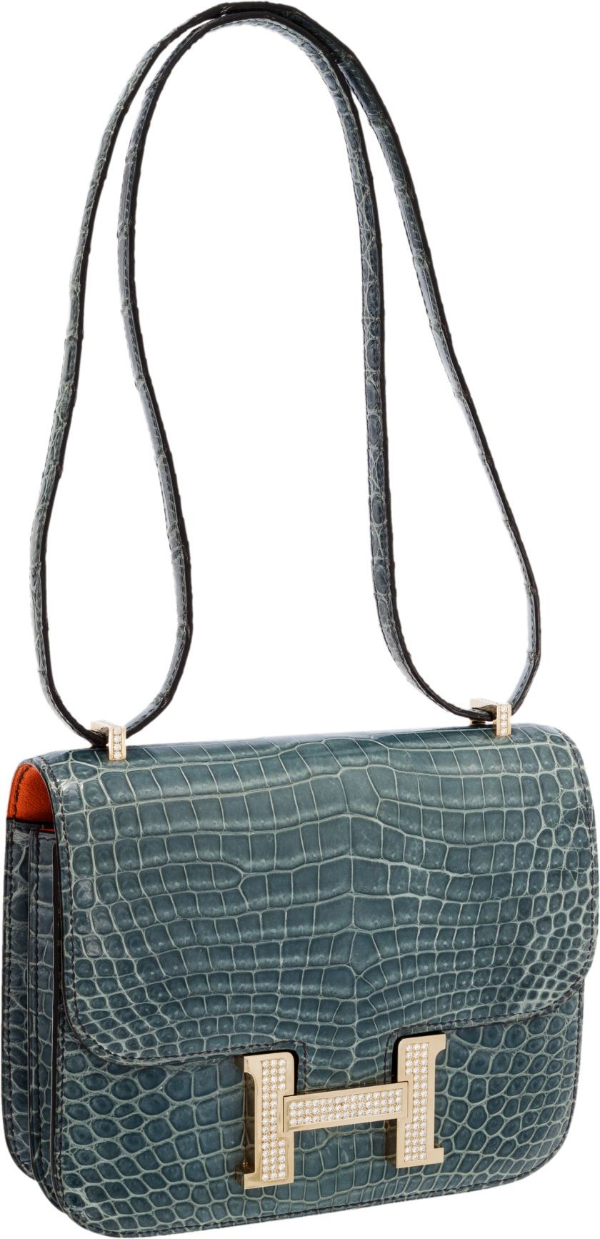 Luxury Accessories:Bags, Hermes Extraordinary Collection 18cm Diamond Blue Jean PorosusCrocodile Double-Gusset Constance Bag with 18K White Gold Hardw... Image #1