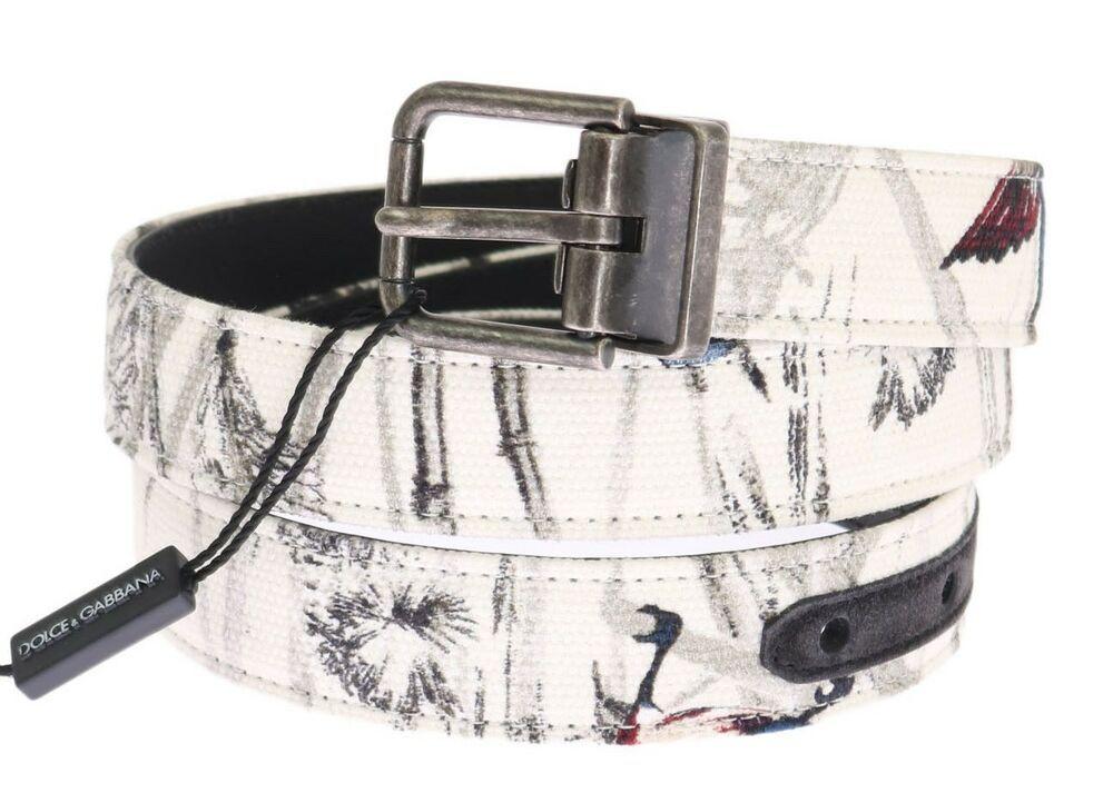 NEW $360 DOLCE /& GABBANA Belt White Denim Bird Print Leather Mens 90cm 36in