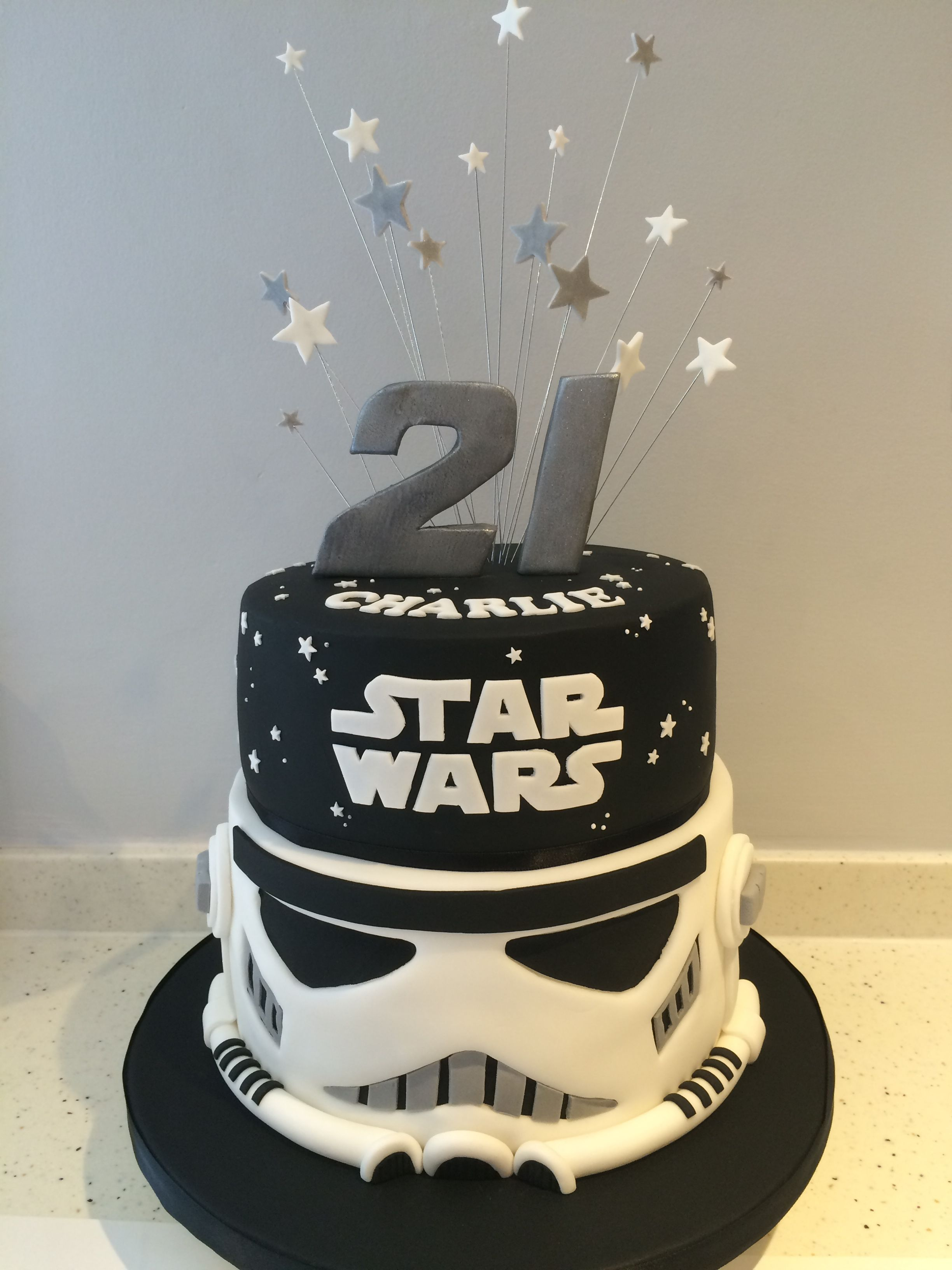 Amazing Star Wars 21St Birthday Cake Black White With Star Spray Topper Birthday Cards Printable Giouspongecafe Filternl