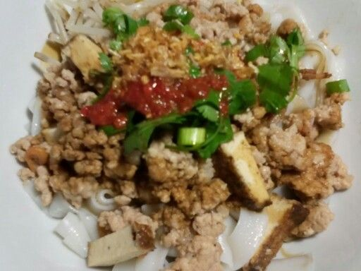 Guey-tiew-lord (Rice Noddle with ground pork and Tofu)