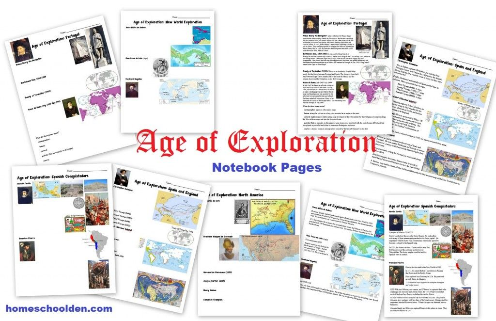 Age Of Exploration Worksheets Notebook Pages Learn History Explorers Activities Homeschool History
