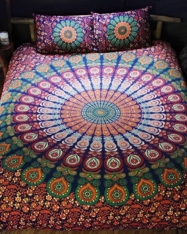 Bohemian Indian Queen Size Bedding 3 Piece Set Mandala Boho Hippie Bedspreads Tapestry And 2 Pillow Cases Free Hippie Bedding Queen Size Bedding Mandala Boho