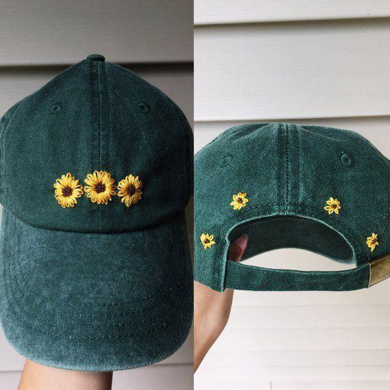 Sombrero de girasol bordado a mano con funda de sombrero de bordado floral # bor…