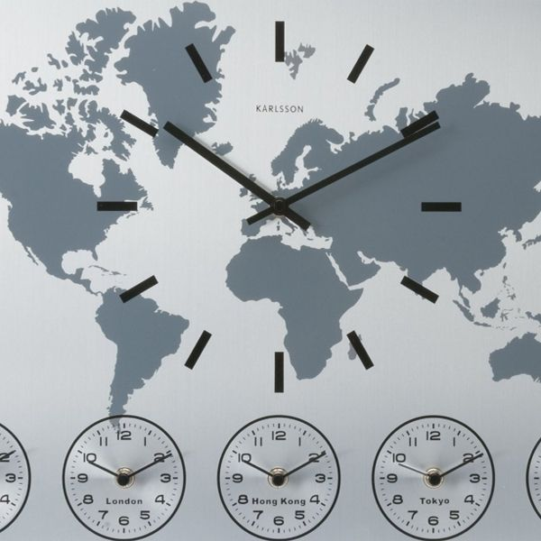 Karlsson world time wall clock main time displayed on world map karlsson world time wall clock main time displayed on world map features 5 different time zones below for 5 different time zones london sydney gumiabroncs Gallery