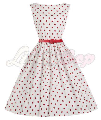 8f6ca935bb1 LINDY BOP  AUDREY  WHITE   RED POLKA DOT VINTAGE 1950 s SWING DRESS ...