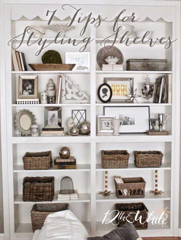 12th And White Living Room Shelves Bookshelf Decor Bookcase Decor #white #living #room #shelves