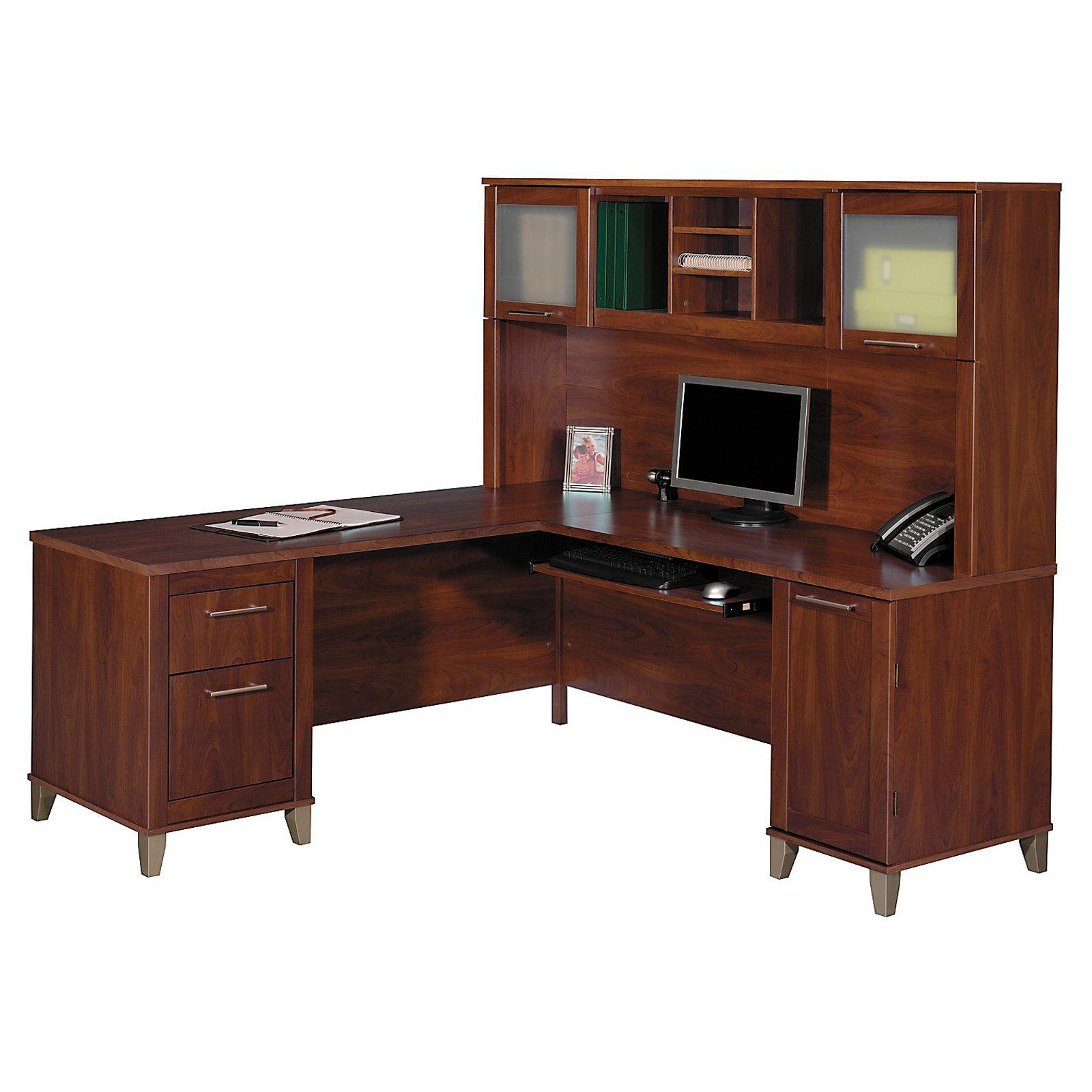 bush somerset lshaped desk with hutch the bush somerset lshaped desk with hutch is the ultimate office garnish comprising a solid mdf with laminate