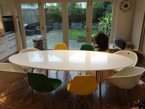 Ikea Gidea White Gloss Oval Dining Table 260 00 Excellent Condition Dimensions 237cm L 103cm W