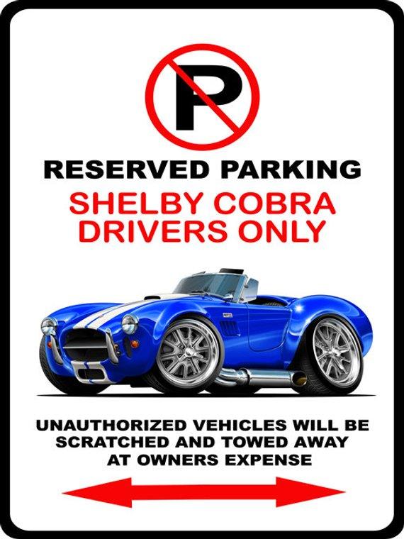 Stripes AC Cobra Shelby Caricature Retro Classic Sports Car Art Print