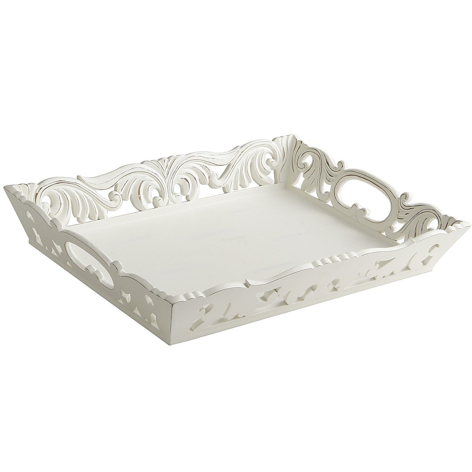 White Decorative Tray Nettie Carved Medium Tray  White Tray Trays And Shabby