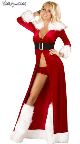Sexy Miss Claus Robe Set, Sexy Christmas Robe Set, Fur Trim Robe Set - Sexy Miss Claus Robe Set, Sexy Christmas Robe Set, Fur Trim Robe Set