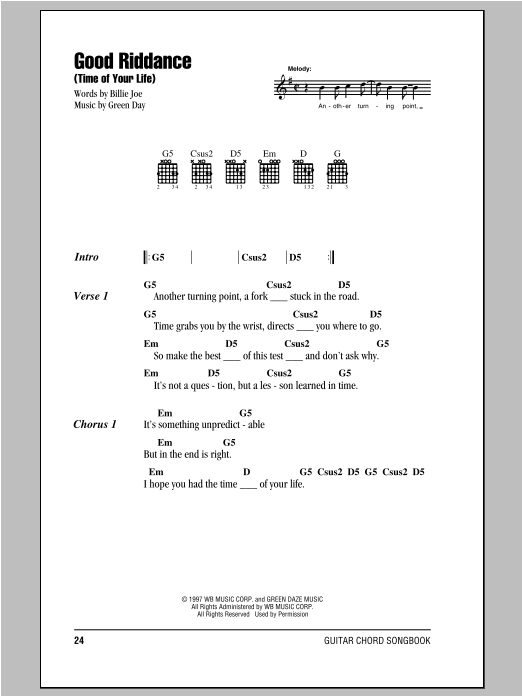 good riddance guitar chords - Google Search | Music | Pinterest ...