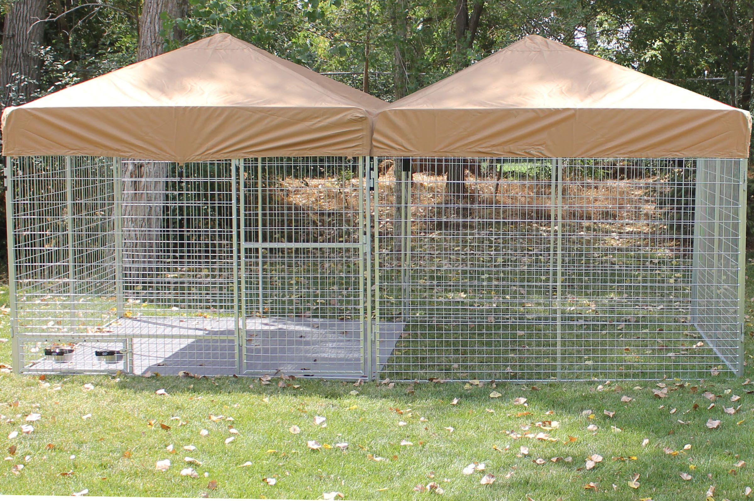 multiple kennel pro dog kennels with double canvas roof tops and