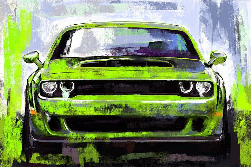 Car Art Red Line Dodge Challenger Rt Srt Canvas Painting Etsy Automotive Art Dodge Challenger Car Painting