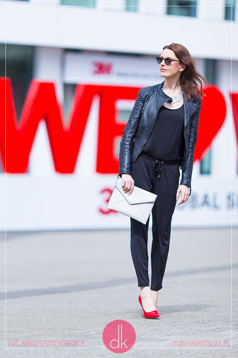 Czarny Kombinezon Ramoneska I Czerwone Szpilki Stylizacja Na Wiosne Przepis Dorota Kaminska Fashion Normcore Style