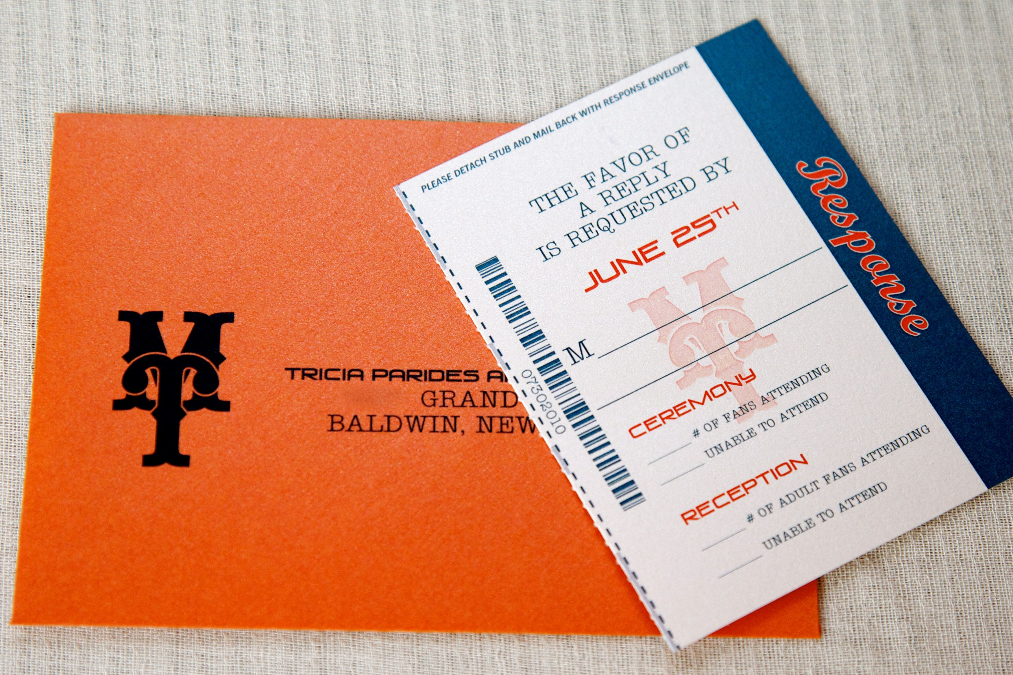 Wedding Invitations With Response Cards And Envelopes: Baseball Ticket Inspired Response